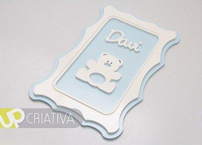 Quadro porta maternidade e quarto do bebê urso personalizado
