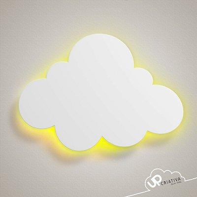 Luminária Nuvem Pequena em MDF com LED para quarto de bebê