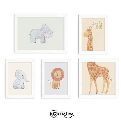 Conjunto de Quadros Decorativos Animais Selva Safari Para Quarto de Bebê
