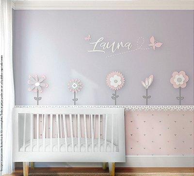 Painel decorativo para quarto de bebê - Tema Flor / Jardim  MDF