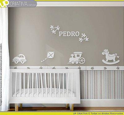 Painel decorativo para quarto de bebê - Tema Brinquedos MDF