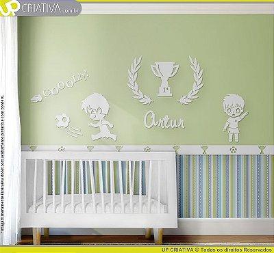 Painel decorativo para quarto de bebê - Tema Futebol MDF
