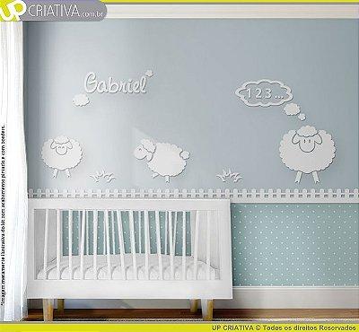 Painel decorativo para quarto de bebê - Tema Ovelhas MDF
