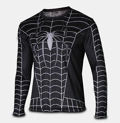 Manga Longa Homem Aranha - Preta