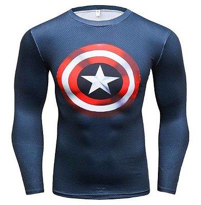 Manga Longa Escudo Capitão América