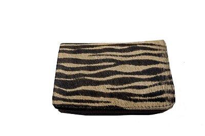 Carteira Feminina Com Zíper Estampa Animal Print Zebra Marrom