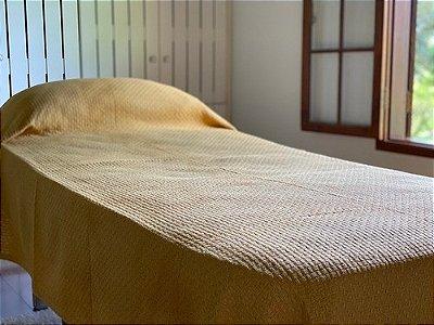Colcha Solteiro Mostarda 100% Algodão - Tear manual