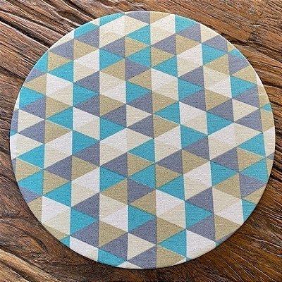 Sousplat em Mdf detalhes em Triangulo Cinza e Mostarda Tiffany