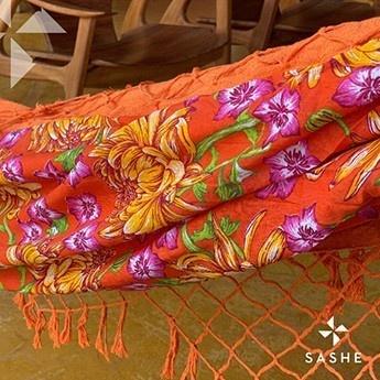 Rede de descanso Laranja em chita floral
