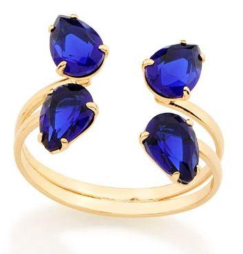 Anel Folheado a ouro 18k Aro duplo aberto Cristal Azul