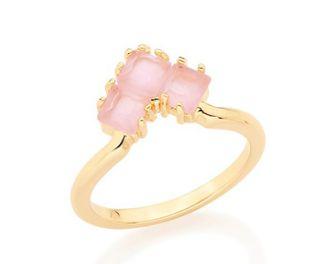 Anel Folheado a ouro 18K Aro Fino Cristal Rosa Fosco