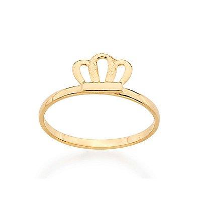 """Anel Folheado a ouro 18k Infantil """"skinny ring"""" com coroa."""