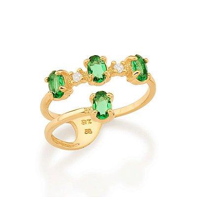 Anel Folheado a ouro 18k Aro Duplo Cravejado por Zircônias Verdes