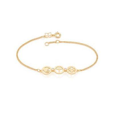 Pulseira Folheada a ouro 18k Fio Grumet diamantada santíssima trindade