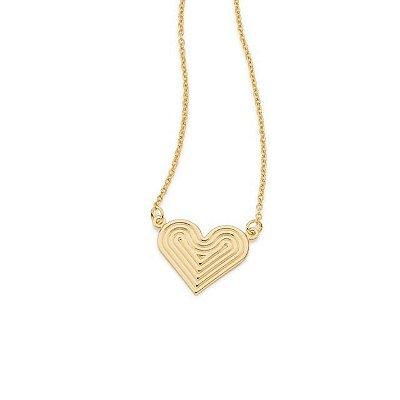 Gargantilha Folheada a Ouro 18K Pendant com coração trabalhado
