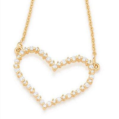 Gargantilha Folheada a Ouro 18K Pendant com coração cravejado de Zirconias