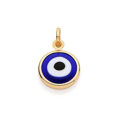 Pingente Folheado a ouro 18K Olho Grego Azul Claro