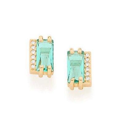 Brinco Folheado a Ouro 18k Cristal Retangular Verde com Zirconias
