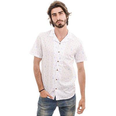 Camisa Manga Curta Branca Barcos