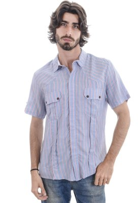 Camisa Manga Curta Listrada Estaiada