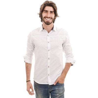 Camisa Manga Longa Branca Botonê