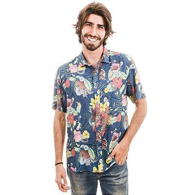 Camisa Floral Hawaii Manga Curta Tietê