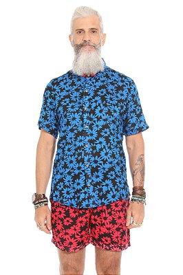 Camisa Flores de Outono Azul