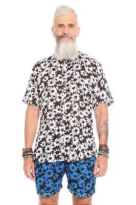 Camisa Flores de Outono Preto e Branco