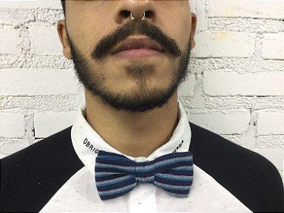 Gravata Borboleta Listrada Azul