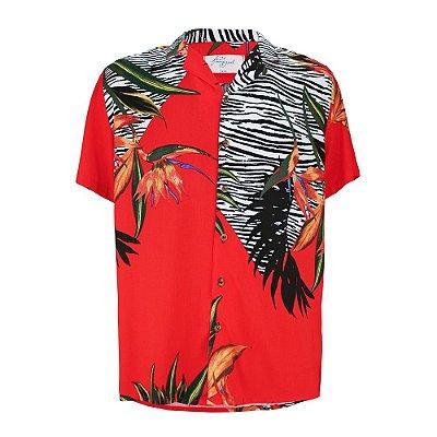 Camisa Tropical Zebra Vermelha