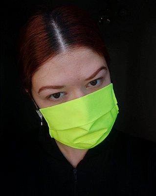 Máscara de tecido amarelo neon