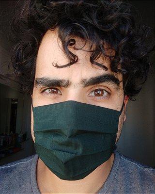 Máscara de tecido verde escuro