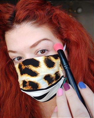 Máscara de tecido onça listrada