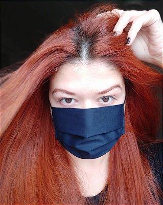 Máscara de tecido azul marinho
