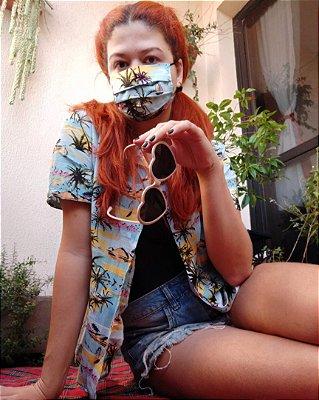 Conjunto camisa e máscara Hawaii