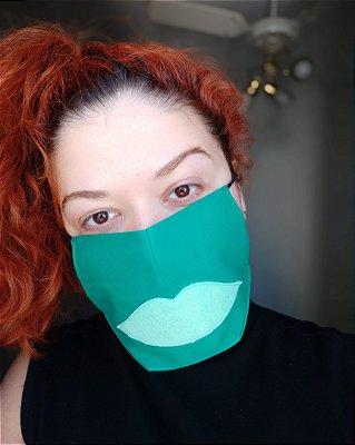 Máscara de tecido verde boca verde claro