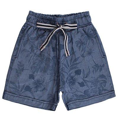 Bermuda Azul Jeans Floral Camuforest Infantil