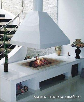 42- Lareira  a Gás com Pedra Vulcânica - Projeto Teresa Simões