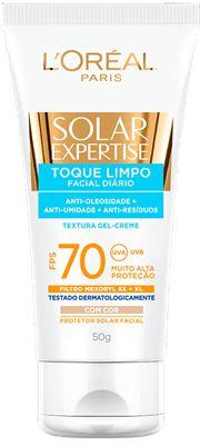 L'OREAL SOLAR EXPERTISE PROTETOR FACIAL TOQUE LIMPO FPS 70 COM COR 50g