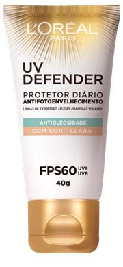 L'OREAL UV DEFENDER ANTIOLEOSIDADE ANTIFOTOENVELHECIMENTO FPS 60 COR CLARA 40g