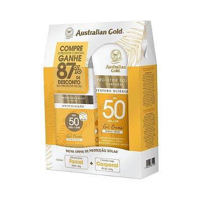 AUSTRALIAN GOLD KIT PROTETOR SOLAR FPS 50 200g + PROT. SOLAR FACIAL FPS50 50g