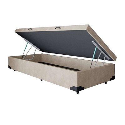 Cama Box Baú Solteiro Suede Bege - 88x188x40