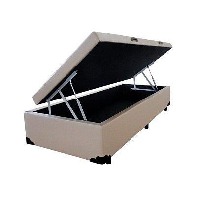 Cama Box Baú Solteiro Corino Bege - 88x188x40