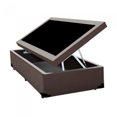 Cama Box Baú Solteiro Sintético Marrom - 88x188x40
