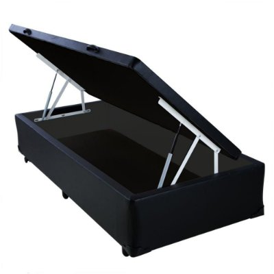 Cama Box Baú Solteiro Sintético Preto - 88x188x40