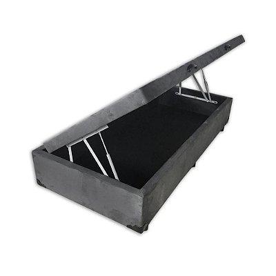 Cama Box Baú Solteiro Suede Cinza - 88x188x40