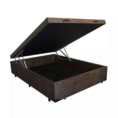 Cama Box Baú Viúva Suede Marrom - 128x188x40