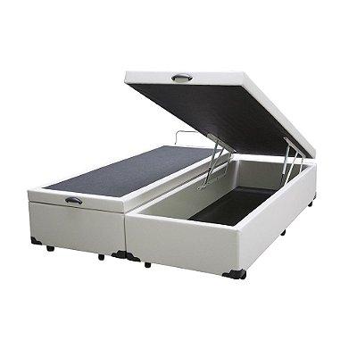 Cama Box Baú Queen Bipartido Sintético Branco - 158x198x40