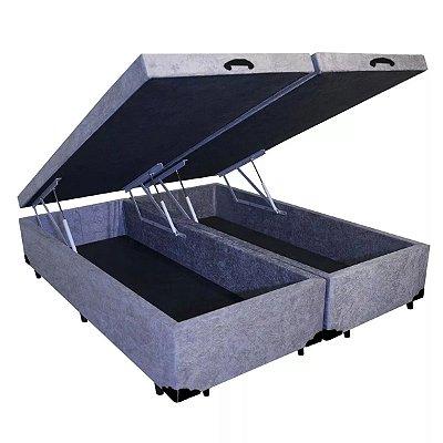 Cama Box Baú King Bipartido Suede Cinza - 193x203x40