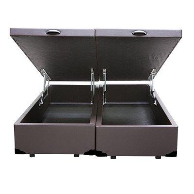 Cama Box Baú King Bipartido Sintético Marrom - 193x203x40